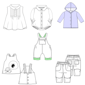 All our patterns have been tested and they are prepared for garments production Vector drawing BABIES Accessories